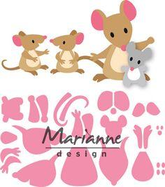 Marianne Design Collectables Cutting Die Eline's Mice Family for sale online Boutique Scrapbooking, Felt Crafts, Paper Crafts, 3d Templates, Marianne Design Cards, Frantic Stamper, Cute Mouse, Felt Patterns, Felt Applique