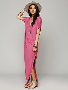 i love split dresses like these. You can put another maxi-different color/pattern underneath. Looks great! (Free People Marrakesh Dress)