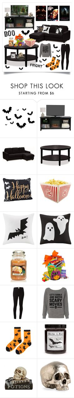 """Halloween Horror Movie Night"" by raven-couture ❤ liked on Polyvore featuring interior, interiors, interior design, home, home decor, interior decorating, AveSix, Madison Park, Yankee Candle and White Stuff"