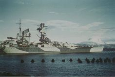 Admiral Scheer in Narvik summer 1942 painted in Operation Rosselsprung camouflage [817x550] - Imgur