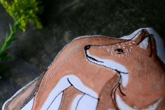 Ethiopian Wolf pillow toy. Hand Drawn Organic Cotton by alyparrott