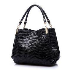 "One Epoch Mart - Best goods from universe! - Buy Alligator Leather Women Handbag Bolsas De Couro Fashion Famous Brands Shoulder Bag Black Bag Ladies Bolsas Femininas Sac"" from category ""Luggage & Bags"" for only USD. Luxury Handbags, Fashion Handbags, Purses And Handbags, Fashion Bags, Leather Handbags, Style Fashion, Designer Handbags, Ladies Handbags, Ladies Fashion"