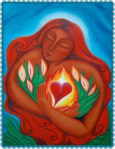 Mary Magdalene of the Burning Heart by Tanya Torres Maria Magdalena, Marie Madeleine, Divine Mother, Goddess Art, Sacred Feminine, Arte Floral, Visionary Art, Heart Art, Mother Earth