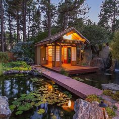 Psst . . . theres a secret behind this contemporary mansion. A ceremonial tea house based on the architecture found in Japanese gardens glows warm and inviting. Cross the koi pond and slip just in front of the waterfall for an afternoon yoga session or nap. | Location: Castle Rock CO | Listing: http://zlw.re/1823 by zillow