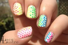 Chic Neon Rainbow Dots Nail Art Design Idea On White Nails Background - Nail Art Club #prom nail art