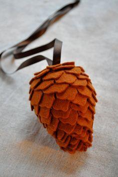 Woolen pine cone ornament