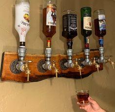 Wall hanging liquor dispenser, 3 bottle valve for 200 and 5 bottle valve for 250 Diy Home Bar, Diy Bar, Bars For Home, Diy Home Decor, Whiskey Dispenser, Alcohol Dispenser, Man Cave Room, Man Cave Home Bar, Diy Shoe Rack