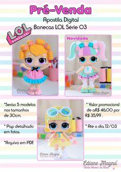 Boneca Lol de feltro Wool Dolls, Felt Dolls, Doll Crafts, Diy Doll, Flower Fairies, Felt Fabric, Animal Crafts, Doll Patterns, Baby Toys