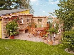Gartenideen mediterran  Terrassensitzplatz mit Ziegelmauer   Gartenideen   Pinterest ...