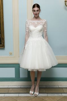 88398a077e36 Short cocktail wedding dress with lace sleeves and tulle skirt by Truly   zacposen
