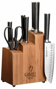 Ginsu 7108 Chikara 8-Piece Stainless Steel Knife Set with Bamboo Block by Ginsu. $63.99. Rust-resistant stainless steel blades hold an incredibly sharp edge; hand wash and dry. 5 knives included: 3-1/2-inch paring, 5-inch utility, 5-inch serrated, 7-inch santoku, and an 8-inch chef's. Also included: a pair of kitchen shears, sharpening rod, and bamboo storage block. Traditional-style rounded Japanese handles made of heat and water-resistant resin; full tang. Japanese-styl...