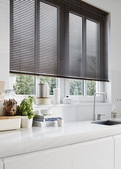 A stylish shade or elegant blind from Luxaflex® can offer the perfect solution for your kitchen. Kitchen Window Blinds, Kitchen Window Coverings, Kitchen Window Treatments, House Blinds, Wood Blinds, Blinds For Windows, Black Blinds, Shades Blinds, Store Venitien