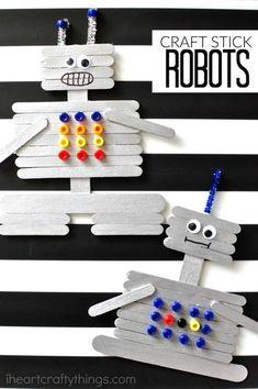 Creative Craft Stick Robot Craft is part of DIY crafts For Boys - This craft stick robot craft for kids is a fun and creative craft for kids Fun kids craft, preschool craft and summer kids craft Summer Crafts For Kids, Crafts For Teens, Diy For Kids, Kids Fun, Summer Kids, Spring Crafts, Diy Crafts For 5 Year Olds, Kids Arts And Crafts, Kids Boys
