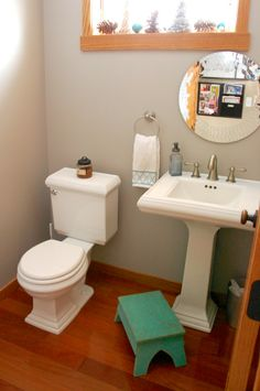 Bathroom with wood trim, Sherwin Williams Functional Gray wall color