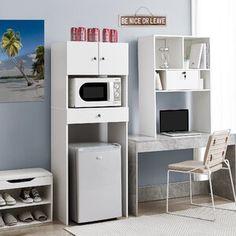 "Latitude Run Nordland 85.9"" H x 41.8"" W Over Bed Shelving Unit   Wayfair Dorm Storage, Dorm Room Organization, Organization Ideas, Dorm Kitchen, Kitchen Pantry, Dorm Fridge, Dorm Furniture, Modern Furniture, Furniture Design"