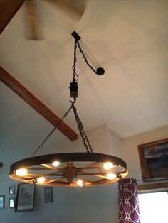 "60"" Wagon Wheel Chandelier on Chain and Pully"