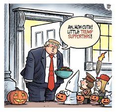 Donald Trump's Halloween, Cartoon by Theo Moudakis, from Toronto, Canada. For more Donald Trump cartoon visit ToonsMag Political Satire, Political Cartoons, Funny Trump Cartoons, Stupid Memes, Funny Memes, Jokes, Trump Halloween, Halloween Images, Donald Trump Funny