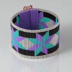 Native American Style Dakota Star Bead Loom Bracelet - Artisanal Jewelry - Southwestern - Purple White  -Western Jewelry -Beaded Bohemian by PuebloAndCo on Etsy