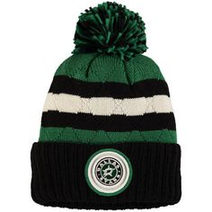 3588bb07471 Men s Dallas Stars Mitchell   Ness Black Kelly Green Quilted Crown Jersey  Stripe Hi-Five Cuffed Knit Hat with Pom