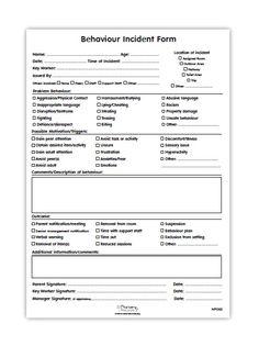 Incident Report Form Child Care Behavior Incident Report