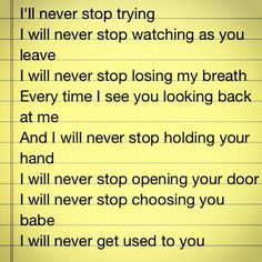 Lyrics to Never Stop by safety suit...I like to think God sings this to me all the time.