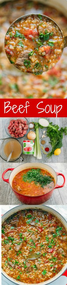 Beef Soup Kharcho: a hearty beef and tomato soup with a unique spice blend and plenty of fresh herbs. The tender beef in this beef soup melts in your mouth.