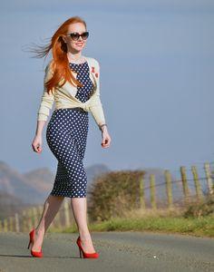 navy polka dot pencil dress and cherry print cardigan