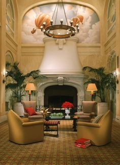 That's a fireplace...go big or go home - Hotel Monaco San Francisco - Atrium Lobby