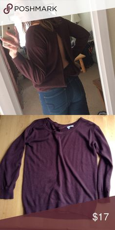 Open-Back Sweater Such a pretty maroon color which is perfect for the fall! This sweater is pretty plain in the front, but the real party is in the back! Layer it with a cute strappy bralette to show off the detail ❤️ ABOUND Sweaters Crew & Scoop Necks