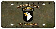 101st Airborne Screaming Eagles License Plate