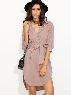 Shop Curved Hem Self Tie Shirt Dress online. SheIn offers Curved Hem Self  Tie Shirt 5e5a69e25