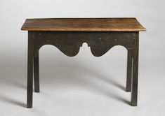 """Fine Primitive Georgian Serving or Console Table With a Compelling Boldly Shaped """"Cupid's Bow"""" Frieze, Pine Retaining the Original Painted Surface, English or Welsh, (British and European Country Furniture & Folk Art at Robert Young Antiques) Raw Wood Furniture, Country Furniture, Antique Furniture, Sofa Tables, Table And Chairs, Console Tables, Dining Tables, Small Entry Tables, Entryway Tables"""