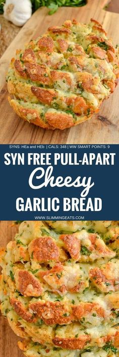 go crazy for this Syn Free Pull-Apart Cheesy Garlic Bread - a perfect sharing side or party appetizer. This week I had serious cravings for Garlic Bread. Gluten Free, Vegetarian, Slimming World and Weight Watchers friendly. Slimming World Garlic Bread, Slimming World Dinners, Slimming World Recipes Syn Free, Slimming Eats, Slimming World Taster Ideas, Slimming World Puddings, Slimming World Fakeaway, Slimming World Starters, Slimming World Breakfast