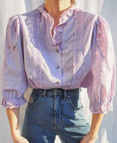 Casual Ootd, Vintage Outfits, Vintage Fashion, 90s Fashion, Womens Fashion, Princess Costumes, Spring Looks, Cotton Blouses, Fashion Lookbook