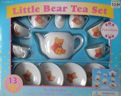 Bear dollhouse china dish set 13 pieces porcelain toy dish set bear dishes bear china bear toy