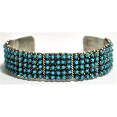Zuni Turquoise Needlepoint Dots Sterling Silver Cuff Bracelet