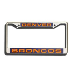 Denver Broncos Laser Chrome Frame by Rico. Save 8 Off!. $18.31. Showcase your team spirit when you're on the road with this officially licensed NFL® laser chrome license plate frame from Rico! The 6-inch x 12-inch metal frame is decorated in the team colors and designed with laser-cut acrylic team inserts at the top and bottom.