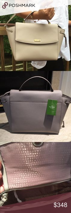 "🆕 NWT Kate Spade Light Gray Satchel Bag Brand New Kate Spade Satchel in saffiano leather. Comes with removable adjustable strap can be worn as a Crossbody.   One inside zipped pocket and two open pocket. Measurements 10"" bottom 12"" top X 9"" X 4.5""    ✔️ Bundle Discounts  ✔️ Reasonable Offers through offer button  ❌ Low Balling  ❌ Trades kate spade Bags Satchels"
