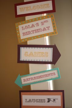 Circus Party Directional Signs