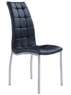 "Global D716-BL Side Chair - Black chair with metal legs and PU leather upholstery. Dimensions: L17"" x D17"" x H26""."
