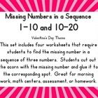 Missing Numbers in a Sequence 1-10 and 10-20 This set includes four worksheets that require students to find the missing number in a  sequence of s...