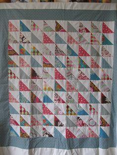Half Square Triangles Throw Quilt