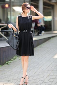 Jcstyle Sleeveless Shirred Chiffon Dress Fashion Days, Fasion, Street Fashion, Fashion Outfits, Work Outfits, Dress Outfits, Cute Outfits, Korean Fashion Summer, Asian Fashion