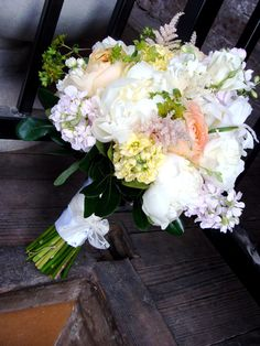 Peonies, stock, garden roses and astilbe