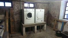 Podest für Waschmaschine und Trockner. Von der Planung und Herstellung bis zum fertigen Podest. Hier Teil 5. Das Betonieren.