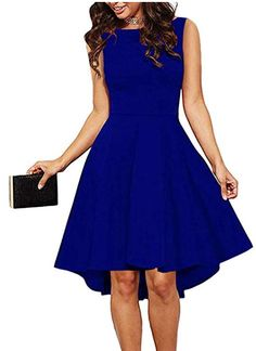 a840210c716 ReoRia Women Sleeveless Boat Neck High Low Cocktail Skater Swing Dress  Burgandy Small    You can get additional details at the image link.