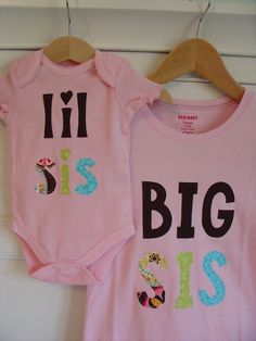 Big Sister Little Sister Matching Shirt and Onesie - Pink. $40.00, via Etsy.