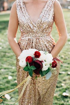 Glitzy glam gold and red real wedding by Ali V Photography | www.onefabday.com