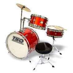 "TKO 3-piece Junior Child/Kid's Drum Set - Wine Red by TKO. Save 24 Off!. $133.00. (For expedited shipping call us: 800-729-3111) The TKO-99 Junior drum set is sized just right for the young student drummer. This durable quality drum set will hold up to your child's playing. It features fully tunable top and bottom heads, real wood shells and chrome plated metal hardware! The snare drum and adjustible angle tom are both 10"" and have 4 lugs each. The 16"" bass drum has 12 lugs and featur..."