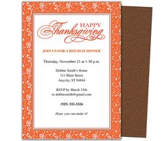 Thanksgiving : Florentine Thanksgiving Party Invitation Template